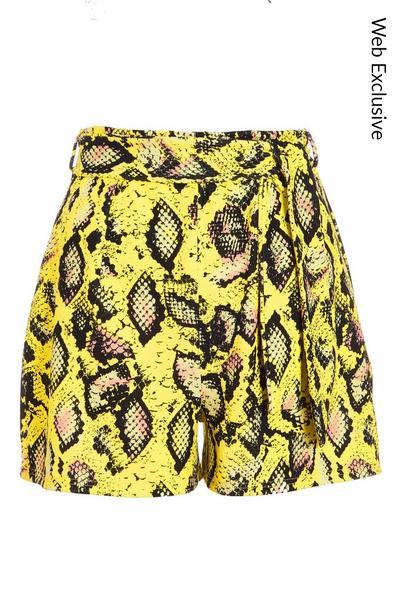 Neon Yellow Snake Print Shorts